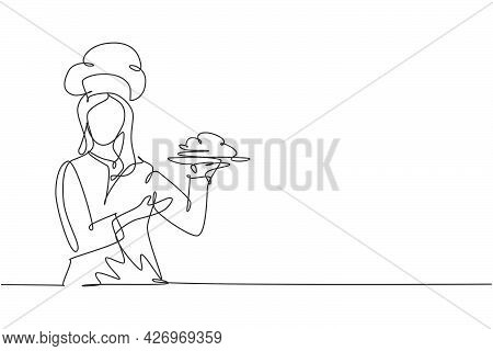 Single One Line Drawing Young Happy Beauty Female Chef Give Tasting Good Gesture While Serving Main