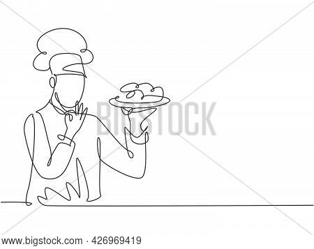 Single One Line Drawing Young Happy Handsome Male Chef Give Tasting Good Gesture While Serving Main