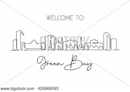 Single Continuous Line Drawing Of Green Bay Skyline, Wisconsin. Famous City Scraper Landscape. World