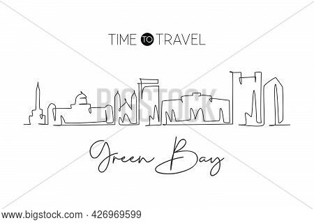 One Single Line Drawing Green Bay City Skyline, Wisconsin. World Historical Town Landscape. Best Hol