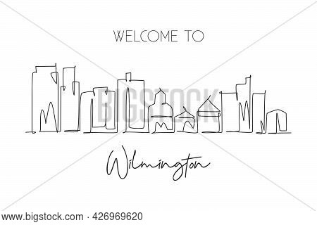 One Single Line Drawing Wilmington City Skyline, Delaware. World Historical Town Landscape Postcard.
