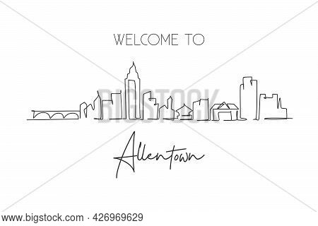 One Single Line Drawing Allentown City Skyline, Pennsylvania. World Historical Town Landscape Postca