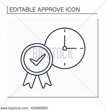 Approve Time Line Icon. Accept Daily Routine Schedule. Time Management. Confirmed Concept. Isolated