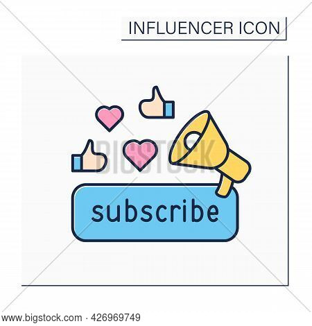 Subscribe Color Icon. Promoting Content For Audience. Subscribers Preferences. Blogging Concept. Iso