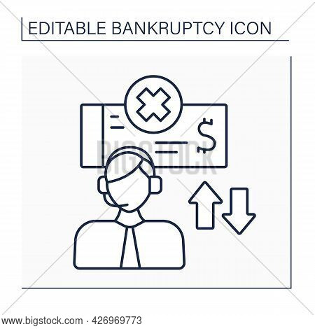 Auction Line Icon. Selling Equipment And Assets. Exchange Equipment On Money. Saving From Bankruptcy
