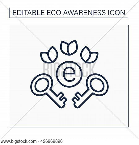 Eco-labeling Line Icon. Green Key Labeling Eco Friendly Hotels, Restaurants, Supermarkets. Environme