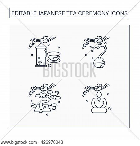 Japanese Tea Ceremony Line Icons Set. Seiza Position, Flower Arrangement, Hanging Scrolls. Japan Anc