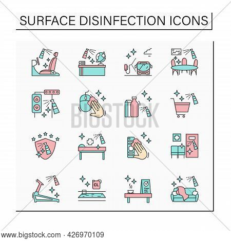 Surface Disinfection Color Icons Set. Disinfection At Home, Workplace, Public Spaces, Transport. Saf