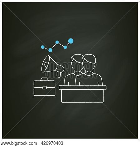 Engagement Employees Chalk Icon.mental, Emotional Connection Employees. Teamwork. Attracting Workers