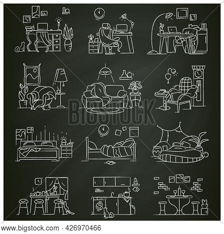 Blanket House Chalk Icons Set.kitchen, Living Room, Bedroom, Home Workplace.modern Apartment Furnitu