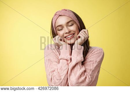 Cheerful Tender And Romantic Attractive European Girlfriend Remembering Lovely Memories From Vacatio