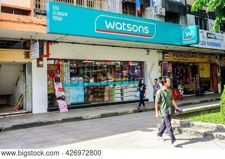 Kudat,sabah,malaysia-feb 3,2018:exterior View Of Watsons Pharmacy Store In Kudat,sabah,malaysia. Buy