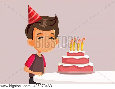 Little Birthday Boy Blowing Candles On A Cake Vector Illustration
