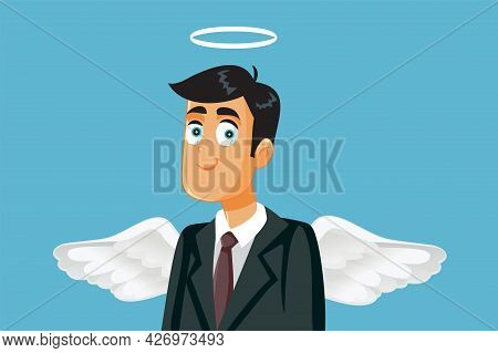 Angel Businessman With Halo And Wings Vector Cartoon Illustration