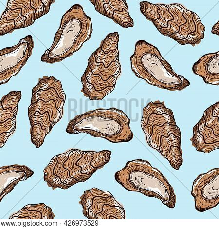 Oysters Seamless Vector Pattern. Open And Closed Shells Of An Edible Clam On A Light Background. Col