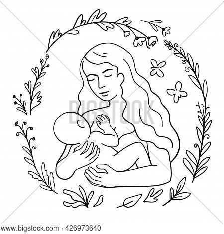 Beautiful Woman Breastfeeding Baby. Line Trendy Art Vector Illustrations Isolated On White Backgroun