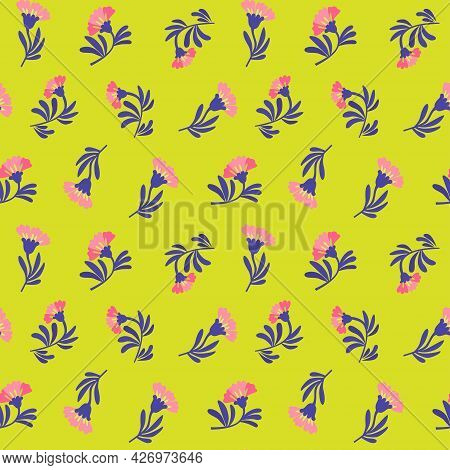 Vector Floral Pattern In Minimalistic Style With Cute Simple Stylized Abstract Flowers