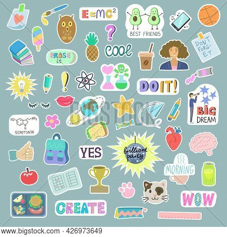 Big Set Of Sticker About Student Life And Back To School With Funny Cartoon Elements And Quotes, Sci