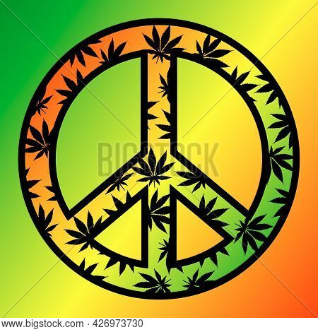 Wallpaper With The Image Of A Hippie Icon On The Background Of The Colors Of The Hippie Flag. Vector