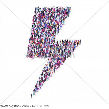 People And Business Group In The Form Of Bolt Symbol