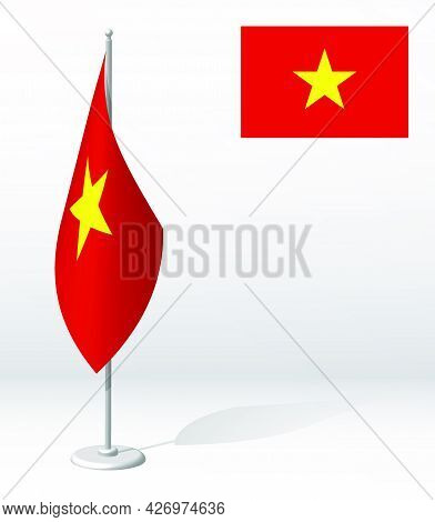 Vietnam Flag On Flagpole For Registration Of Solemn Event, Meeting Foreign Guests. National Independ