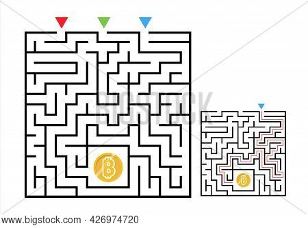 Square Maze Labyrinth Game With Bitcoin. Labyrinth Logic Conundrum For Kids. Three Entrance And One