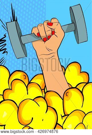 Caucasian Woman Hand Holding Dumbbell On Comic Book Background. Cartoon Style Vector Illustration. D
