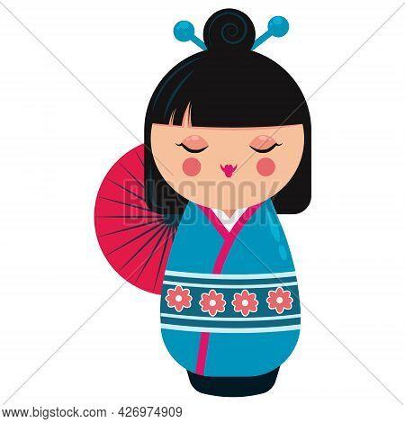 Cute Japanese Kokeshi Doll Character. Cartoon Vector Illustration Isolated On White Background.