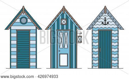 Set Of Beach Houses. Huts And Bungalow Collection. Marine Buildings On Sea Beach. Flat Vector Illust
