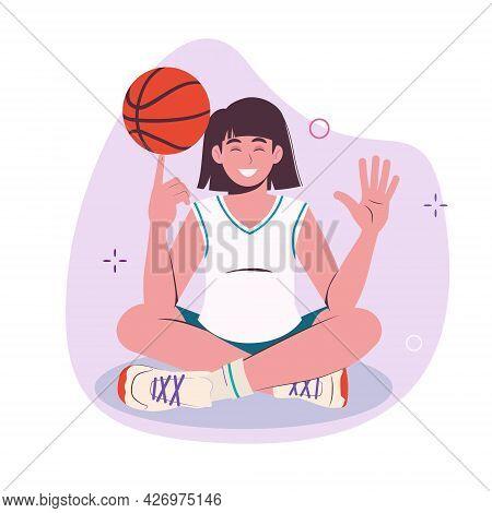 Teenager Girl Spinning Basketball Ball With Finger. Full Length Illustration. Vector Flat Isolated O