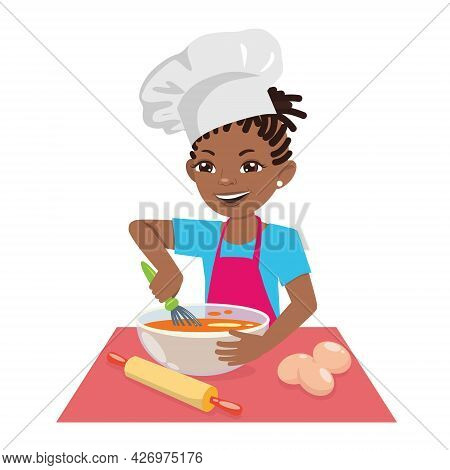 An Afro-american Teenage Girl Cooks A Meal In A Chef's Hat. A Female Chef Is A Pastry Chef. Vector C