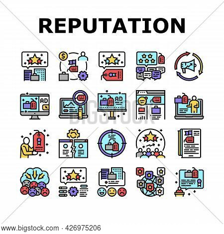 Reputation Management Collection Icons Set Vector. Social Media And Brand Ambassador, Company World