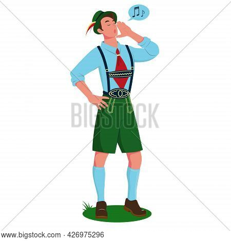 A Young Man Singing A Yodel In Traditional Bavarian Costume. Vector Cartoon Illustration Isolated On