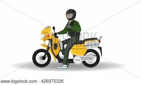 Motorcyclists Wear Helmets. Stationary Ready To Make Fingers Show Great Signs. With Shadow And Isola