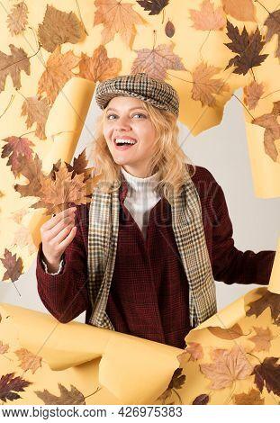 Autumn Time For Fashion Sale. Autumn Trend And Autumn Vogue. Happy Woman And Joy Hello November. Aut