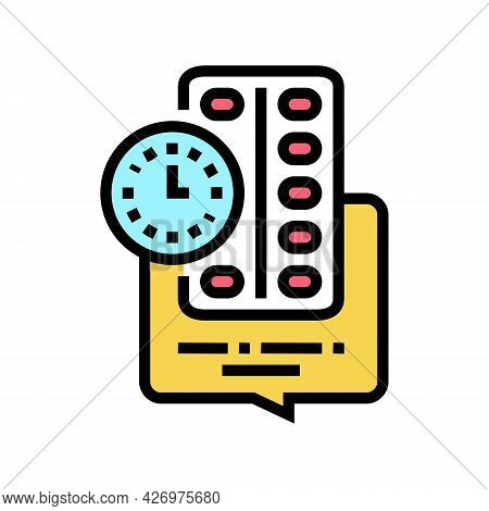Remind To Take Pills Homecare Service Color Icon Vector. Remind To Take Pills Homecare Service Sign.