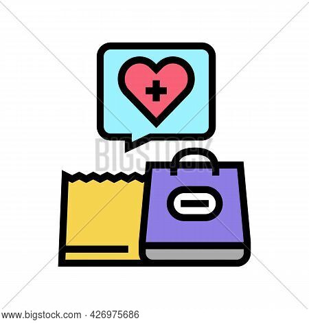 Grocery Shopping Homecare Service Color Icon Vector. Grocery Shopping Homecare Service Sign. Isolate