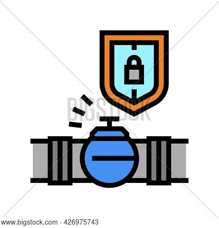 Protection System Of Pipeline Construction Color Icon Vector. Protection System Of Pipeline Construc
