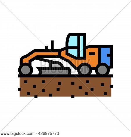 Tractor Prepare Space For Pipeline Construction Color Icon Vector. Tractor Prepare Space For Pipelin