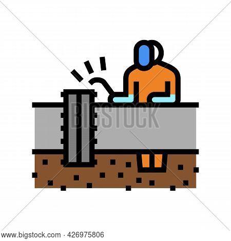 Worker Welding Pipeline Construction Color Icon Vector. Worker Welding Pipeline Construction Sign. I