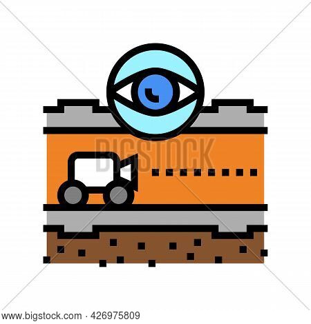 Supervision And Researching Pipeline Construction Color Icon Vector. Supervision And Researching Pip