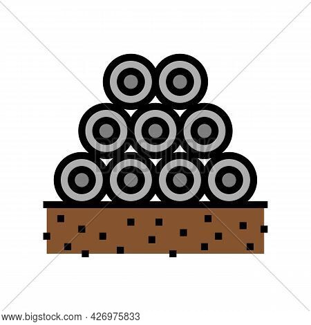 Pipeline Heap Color Icon Vector. Pipeline Heap Sign. Isolated Symbol Illustration