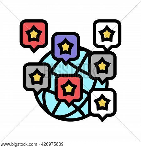 World Reputation Management Color Icon Vector. World Reputation Management Sign. Isolated Symbol Ill
