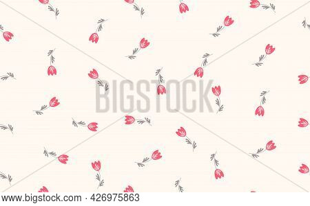 Seamless Floral Pattern Based On Traditional Folk Art Ornaments. Colorful Flowers On Light Backgroun