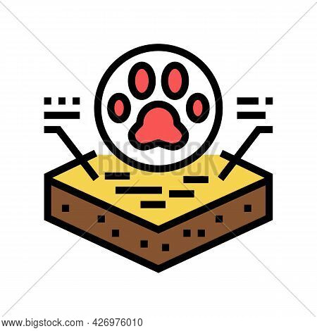 Animal Footprint On Soil Color Icon Vector. Animal Footprint On Soil Sign. Isolated Symbol Illustrat