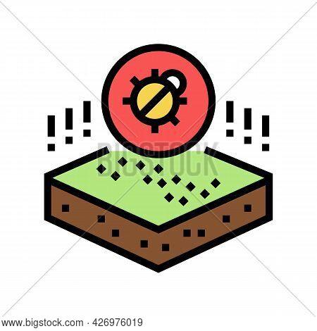 Dangerous Bug On Soil Color Icon Vector. Dangerous Bug On Soil Sign. Isolated Symbol Illustration