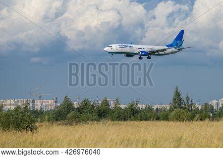 Saint Petersburg, Russia - August 08, 2020: Boeing 737-800 (vp-bqy) Of Pobeda Airlines Before Landin