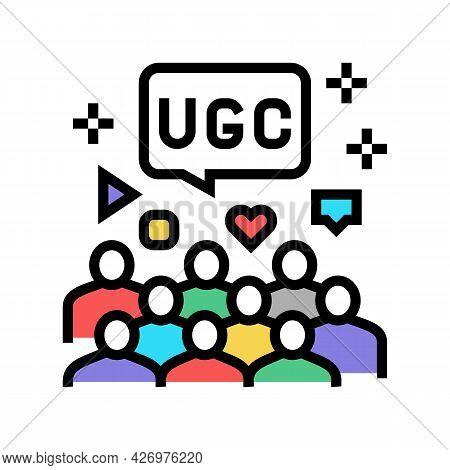 Public Social Media Users Ugc Color Icon Vector. Public Social Media Users Ugc Sign. Isolated Symbol