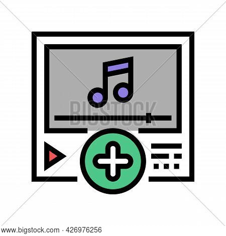 Music Content Ugc Color Icon Vector. Music Content Ugc Sign. Isolated Symbol Illustration