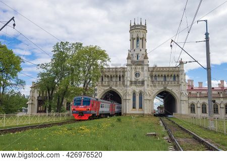 Petrodvorets, Russia - May 29, 2021: Electric Train Ed4m